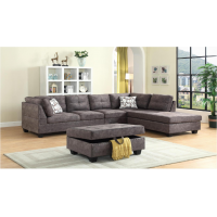Snow Sectional Sofa Reversible with Ottoman (Fabric, Brown)