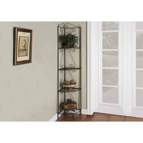 "I-2100 Bookcase - 70""H / Copper metal corner etagere"