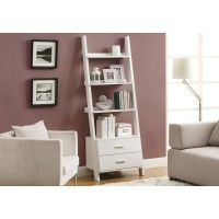 "I-2562 Bookcase - 69""H / shelf unit with 2 white drawers"
