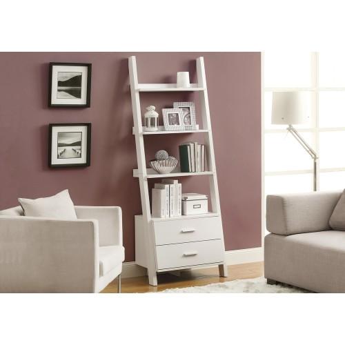 "I-2562 Bookcase - 69""H / shelf unit with 2 white drawers"