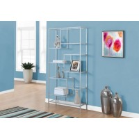 "I-7158 Bookcase - 72""H / Silver metal with tempered glass"