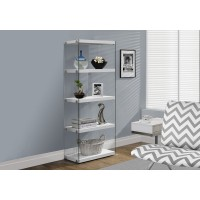 "I-3289 Bookcase - 60""H / Glossy white with tempered glass"