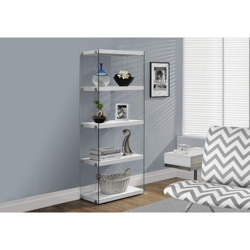 """I-3289 Bookcase - 60""""H / Glossy white with tempered glass"""