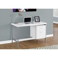 """I-7149 Computer desk - 48""""l (white/silver metal)"""