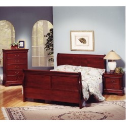 "Louis Phillipe Bedroom Set 60"" 3pcs (Cherry Martini)"