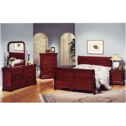 "Louis Phillipe Bedroom Set 60"" 4pcs (Cherry Martini)"