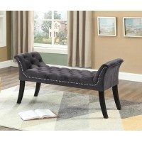 IF-6230 Bench with deep tufting and hail head (grey velvet)