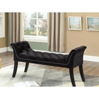 IF-6231 Bench with deep tufting and hail head (black velvet)