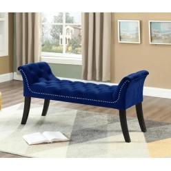 IF-6232 Bench with deep tufting and hail head (blue velvet)
