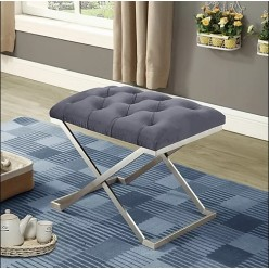 IF-6290 Fabric ottoman with stainless steel legs (grey velvet)