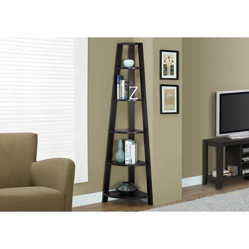 """I-2495 Bookcase - 72""""H /Cappuccino corner accent etagere"""