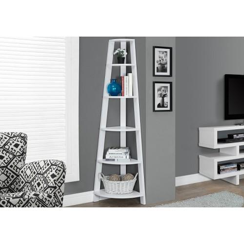 """I-2496 Bookcase - 72""""H /White corner accent etagere"""