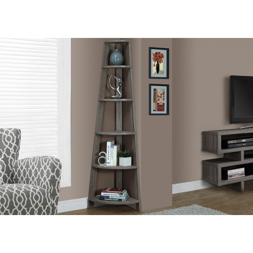 """I-2497 Bookcase - 72""""H / Dark taupe corner accent etagere"""