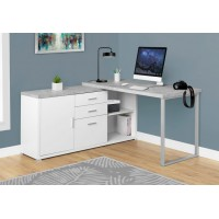"""I-7288 Computer Desk 60"""" reversible (white/grey cement-look)"""