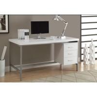 """I-7046 Computer Desk - 60 """"L (white / metal silver)"""
