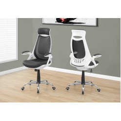 I-7269 Office chair with high backrest (White / mesh grey / chrome)