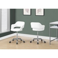 I-7299 Office Chair (White-Hydraulic chromed metal base)