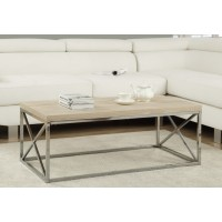 Coffee table I-3208 (natural wood look /chrome metal)