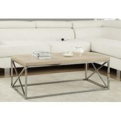 Coffee table I-3208 (natural wood look /chrome metal)