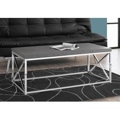 Coffee Table I-3225 (grey faux wood / chrome metal)