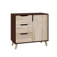 Dresser Retro K-3+1 with 3 drawers and 1 locker (dark brown+sonoma)
