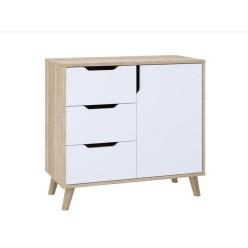 Dresser Retro K-3+1 with 3 drawers and 1 locker (sonoma+white)