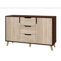 Dresser Retro K-3+2 with 3 drawers and 2 lockers (dark brown+sonoma)