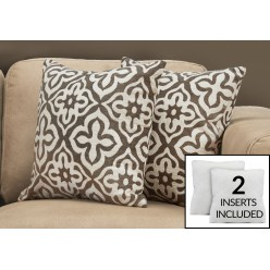 I-9217 set of 2 cushions (white/dark taupe)