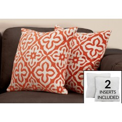 I-9221 set of 2 cushions (white/orange)
