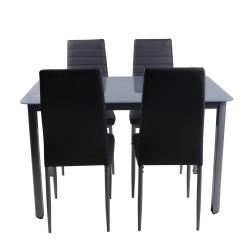 S-128BK/258BK Kitchen set 5pcs (black/glass)