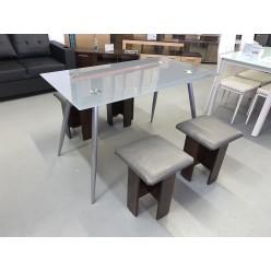 Kitchen Set  Table S-1018 + stools 5 pcs (grey/clear glass)