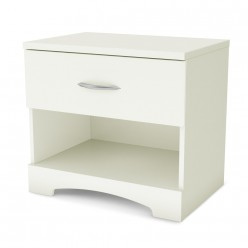 Nightstand 1-Drawer White Step One