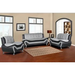 Model Auckland 3pcs Sofa Set (Grey and Black)