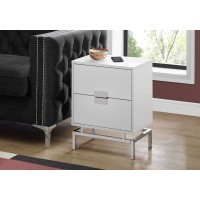 "I-3490 Accent Table -24""H  (glossy white  /chrome metal)"