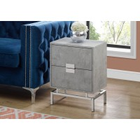 "I-3491 Accent Table -24""H  (grey cement/chrome metal)"