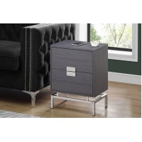 "I-3494 Accent Table -24""H  (grey/chrome metal)"