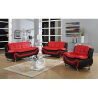 Auckland 3pcs Sofa Set (Red and Black)