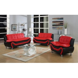Model Auckland 3pcs Sofa Set (Red and Black)