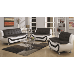 Model Auckland 3pcs Sofa Set (White and Black)