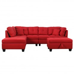 Leila Sectional Sofa with Ottoman (Red)
