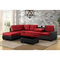 Roma Sectional Reversible Sofa with Ottoman (black/red)
