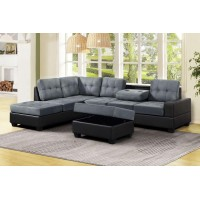Roma Sectional Reversible Sofa with Ottoman (black/grey)