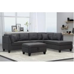 TS-1232 Sectional Reversible Sofa (Charcoal grey)