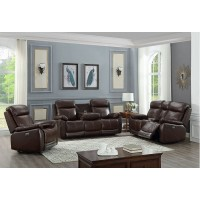 IF-8019 3 pcs Power Recliner Set (Brown Genuine Leather/Match)
