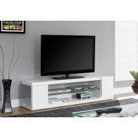 I-3535 TV Stand – 60″L / High glossy white with tempered glass