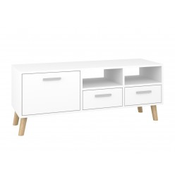 """TV Stand MIRAGE 47""""L with 3 storage drawers (white)"""