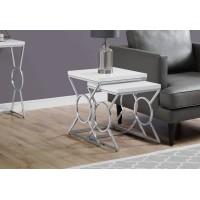 I-3401 Set of 2 tables (white/chrome metal)