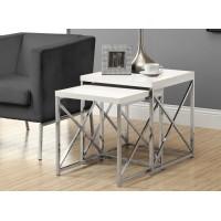 I-3025 Set of 2 tables (white/chrome metal)