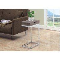 I-3254 Accent Table with drawer (dark taupe/metal chrome)