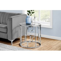 I-7831 Accent Table (glass table top / metal chrome)